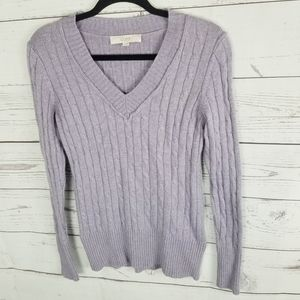 Loft Cable Knit Sweater Womans Small Purpl…